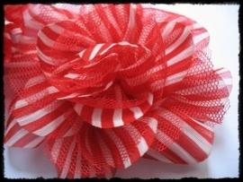 XXL-bloem- gestreept met tule, rood - 10 cm.