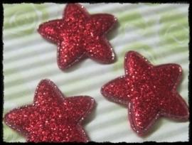 Sterren, rood glitter - 4 stuks - 25mm.