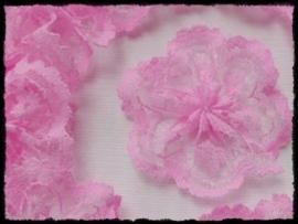 (md) Roze bloem van kant - 3 stuks - 4 cm.