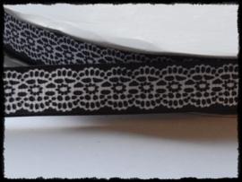 Grosgrain met kantprint, zwart - 5 meter - 16mm.