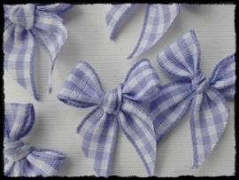 Strikjes, lila geruit - 4 stuks - 2.5 cm.
