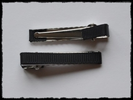 Alligator clips bekleed, zwart - 2 stuks - 47mm.