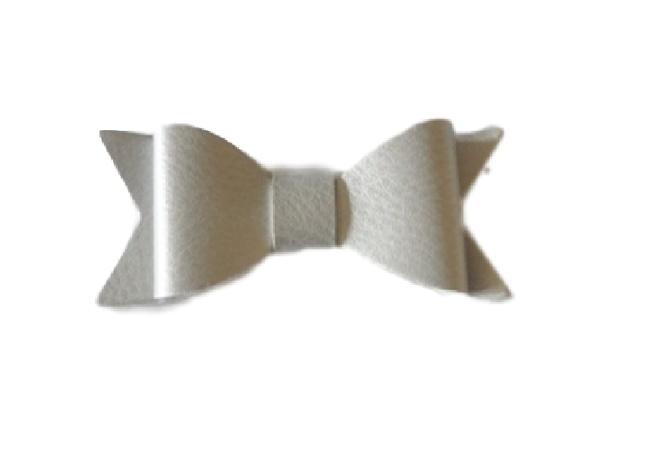 Leren strik, zilver - 7cm.