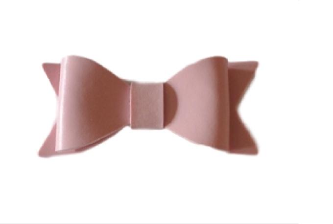 Leren strik, roze - 7 cm.