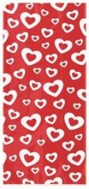 Cello bags/ cellofaanzakjes hartjes rood (20st)