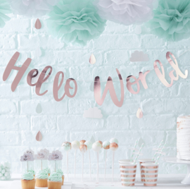 Hello World feestartikelen - slinger rose gold