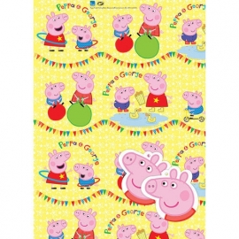 Peppa Pig feestartikelen inpak papier/ cadeaupapier met kaartjes