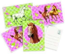 Paarden feestartikelen - uitnodigingen (6st)