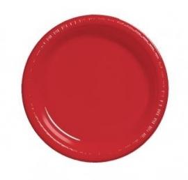 Effen kleur feestartikelen Rood borden (16st)