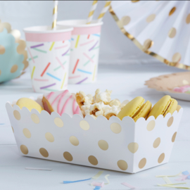 Pick & Mix feestartikelen - Polka Dot snack box goud/ wit (5st)
