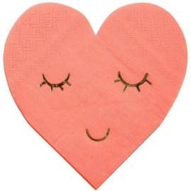 BLUSHING HEART SERVETTEN MERI MERI (16ST)