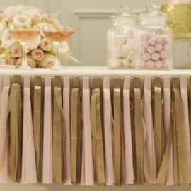Pastel Perfection feestartikelen - Tassel slinger goud/ roze