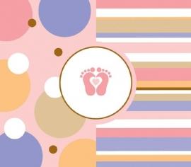 """Tiny Toes Pink"" babyshower uitnodigingen (8st)"