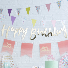 Pick & Mix feestartikelen - Happy Birthday slinger Metallic Goud (1,5m)