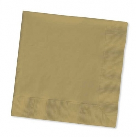 Effen kleurfeestartikelen goud - servetten (20st)