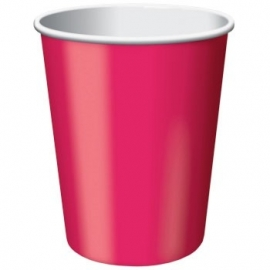 Magenta roze feestartikelen - bekers (8st)