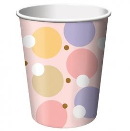 """Tiny Toes Pink"" babyshower feestartikelen drinkbekers (8st)"