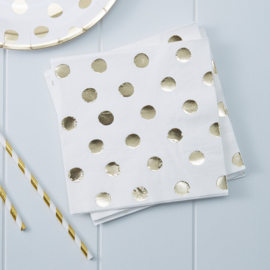 Pick & Mix feestartikelen - Polka Dot servetten goud/ wit (20st)