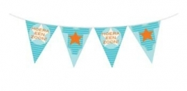 Geboorte feestartikelen: Hoera een zoon vlaggenlijn