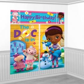 Disney de Speelgoeddokter feestartikelen - grote scene setter muurposter