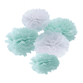 Pick & Mix feestartikelen - Pompom set mint/wit