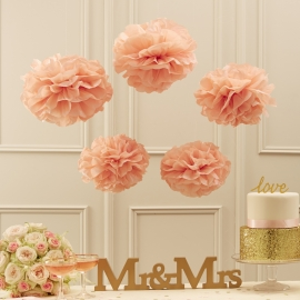 Pastel Perfection feestartikelen - Pompoms roze (5st)