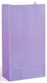 Effen gekleurde partybag lavendel paars (12st)