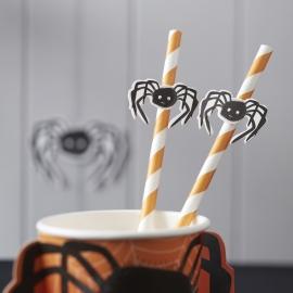 Spooky Spider Halloween feestartikelen - rietjes (16st)