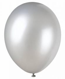 Latex ballonnen metallic zilver(10st)