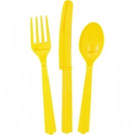 Effen kleur feestartikelen Geel bestek (18 st)