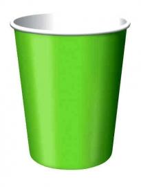 Effen kleur feestartikelen - Lime groen bekers (14st)