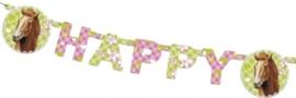 Paarden feestartikelen wenslijn/ Happy Birthday slinger