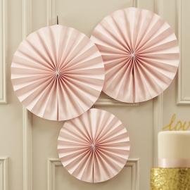Pastel Perfection feestartikelen - Paper fans zachtroze (3st)