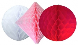 Honeycomb 3- delige set zalmroze /rood /wit