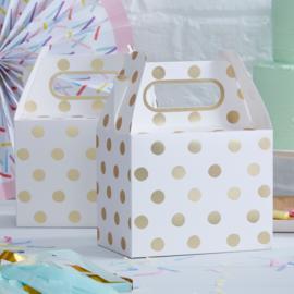 Pick & Mix feestartikelen - Polka Dot cadeau doosjes goud/ wit (5st)