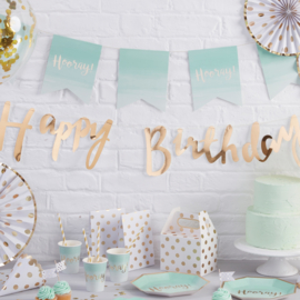 Pick & Mix feestartikelen - Mint Ombre Hooray slinger
