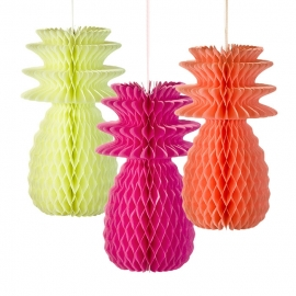 Tropical Fiesta decoratie - Ananas honeycombs (3st)