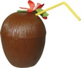 Luau/ Hawaii coconut cup kokosnoot drinkbeker