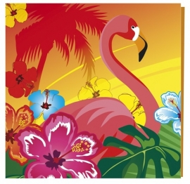 Luau/ Hawaii themafeest flamingo servetten (12st)