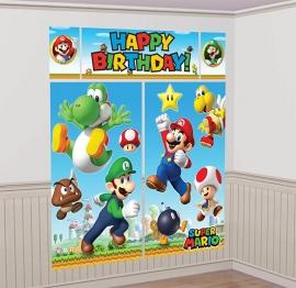 Super Mario feestartikelen grote scene setter/ muurposter