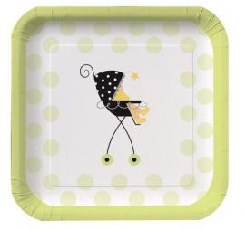 """Stroller Fun"" babyshower gebaksbordjes (8st)"