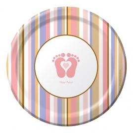 """Tiny Toes Pink"" babyshower feestartikelen gebaksbordjes (8st)"