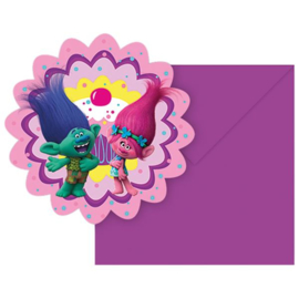 Trolls feestartikelen - uitnodigingen (6st)