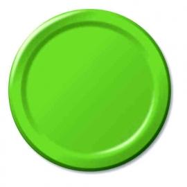 Effen kleur feestartikelen - lime groen borden (16st)