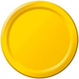 Effen kleur feestartikelen Geel borden (16st)