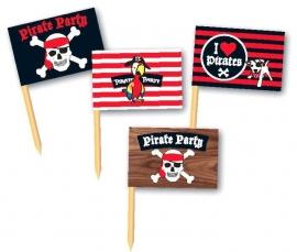 Piraten kinderfeest vlag prikkers (36st)