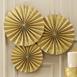 Pastel Perfection feestartikelen - Paper fans goud (3st)
