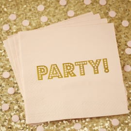Pastel Perfection feestartikelen - Servetten lichtroze/ goud (20st)