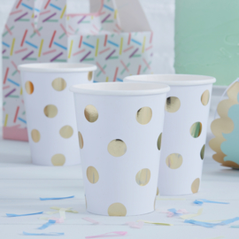 Pick & Mix feestartikelen - Polka Dot bekers goud/ wit (8st)