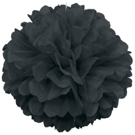 Pompon versiering zwart (groot/ 40,6cm)